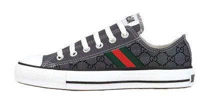 Gucci Custom Converse Shoes Charcoal Low by BandanaFever,com