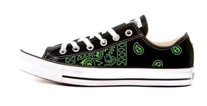 Green Bandana Teardrops Custom Converse Shoes Black Low by BandanaFever.com