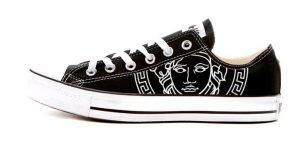 Black Medusa Custom Converse Shoes Black Low at BandanaFever.com