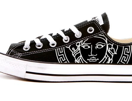 Black Medusa Custom Converse Shoes Black Low