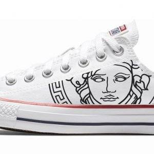 White Medusa Custom Converse Shoes White Low by BandanaFever.com