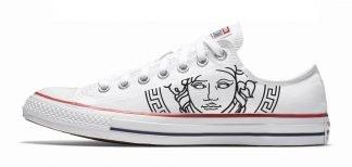 White Medusa Custom Converse Shoes White Low by BandanaFever.com