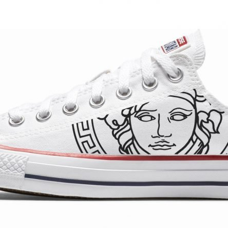 White Medusa Custom Converse Shoes White Low