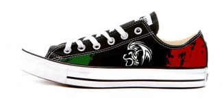 Mexican Flag Custom Converse Shoes Black Low by BandanaFever.com