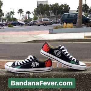 Mexican Flag Custom Converse Shoes Pair Black Low at BandanaFever.com