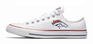 Mini Denver Broncos Custom Converse Shoes White Low by BandanaFever.com