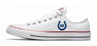 Mini Indianapolis Colts Custom Converse Shoes White Low at BandanaFever.com