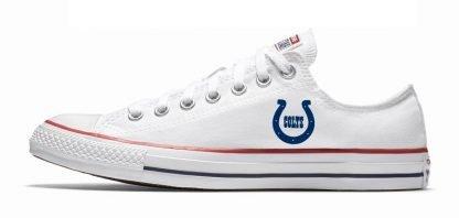 Mini Indianapolis Colts Custom Converse Shoes White Low at BandanaFever.com