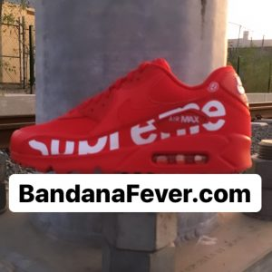 Bandana Fever Big Supreme Custom Nike Air Max Shoes Red at BandanaFever.com
