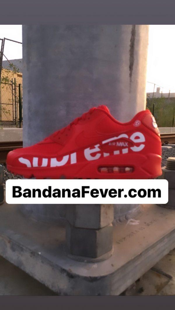 Bandana Fever Big Supreme Custom Nike Air Max Shoes Red at BandanaFever.com