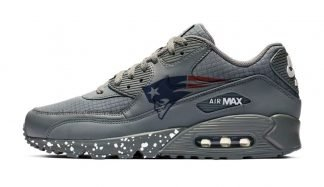 Big New England Patriots Red Splat Custom Nike Air Max Shoes Grey by BandanaFever.com