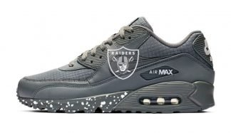 Big Las Vegas Raiders White Splat Custom Nike Air Max Shoes Grey by BandanaFever.com