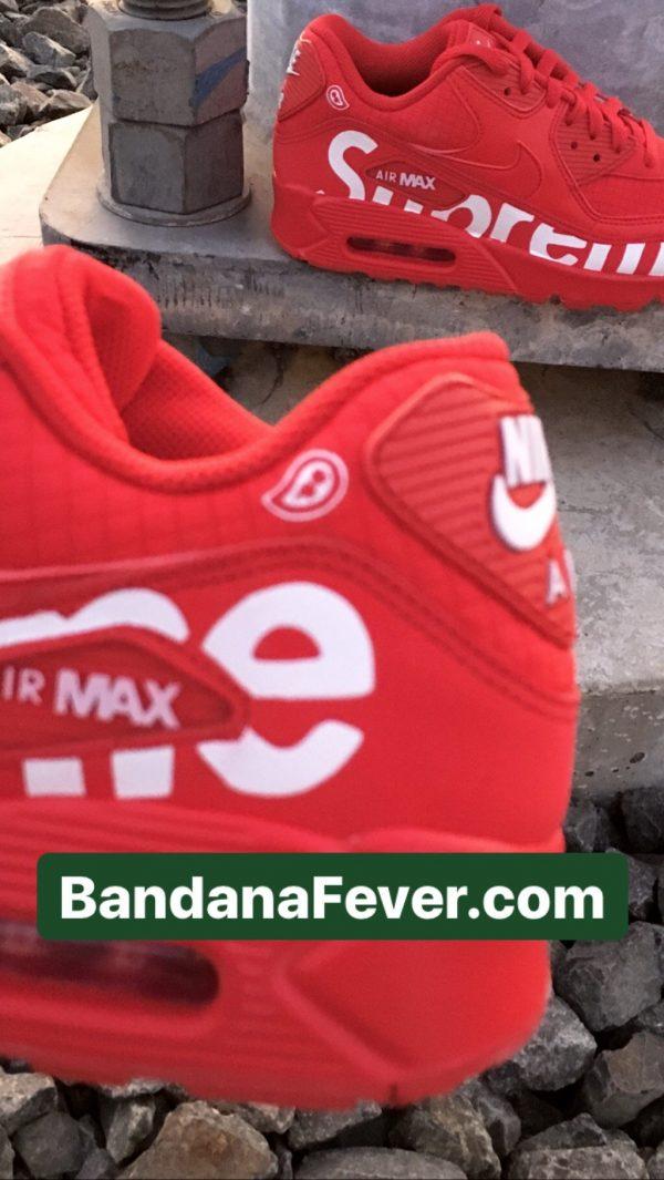 Big Supreme Custom Nike Air Max Shoes Close Red at BandanaFever.com
