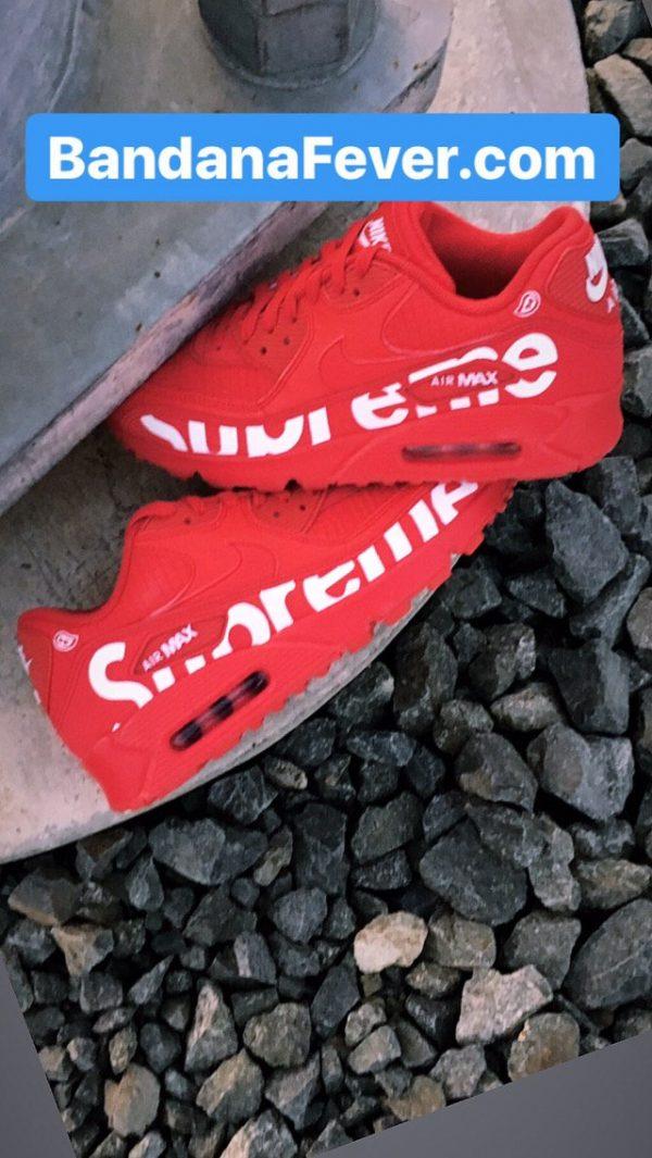 Big Supreme Custom Nike Air Max Shoes Pair Red at BandanaFever.com