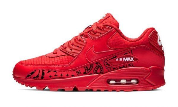 Black Bandana Custom Nike Air Max Shoes Red by BandanaFever.com