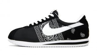 Black Bandana Teardrops Custom Nike Cortez Shoes Black Sides at BandanaFever.com