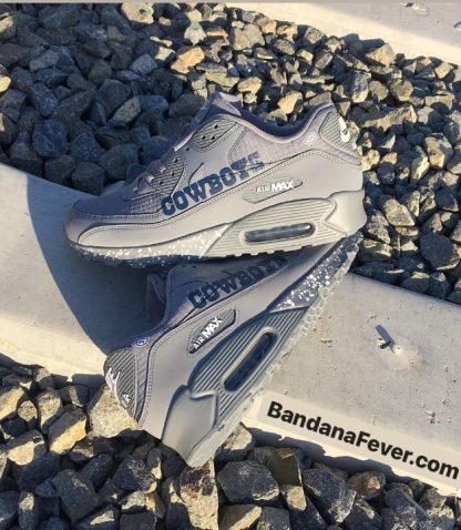 Dallas Cowboys White Splat Custom Nike Air Max Shoes Grey Stacked at BandanaFever.com