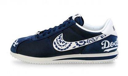 LA Dodgers Navy Bandana Custom Nike Cortez Shoes Toes Heels by BandanaFever.com