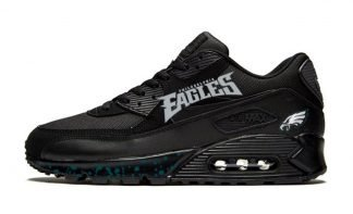 Philadelphia Eagles Green Splat Custom Nike Air Max Shoes Black by BandanaFever.com