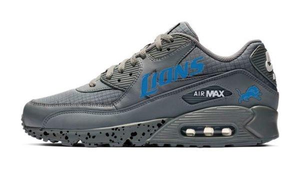Detroit Lions Black Splat Custom Nike Air Max Shoes Grey by BandanaFever.com