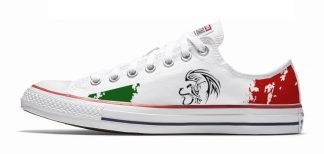 Mexican Flag Custom Converse Shoes White Low at BandanaFever.com