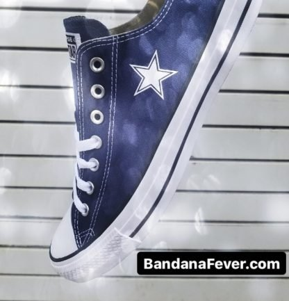 Mini Dallas Cowboys Custom Converse Shoes Navy Low Close at BandanaFever.com