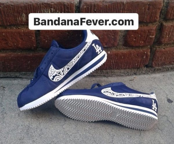 Mini LA Dodgers Navy Bandana Custom Nike Cortez Shoes NNW Stacked at BandanaFever.com