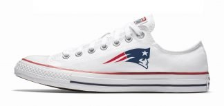 Mini New England Patriots Custom Converse Shoes White Low by BandanaFever.com