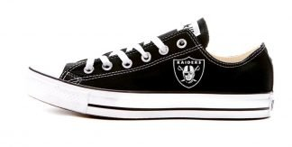 Mini Oakland Raiders Custom Converse Shoes Black Low at BandanaFever.com
