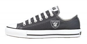 Mini Oakland Raiders Custom Converse Shoes Charcoal Low at BandanaFever.com