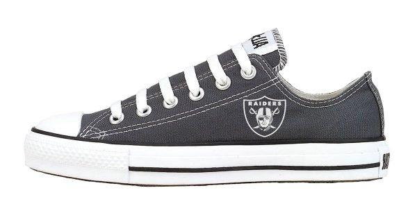 Mini Oakland Raiders Custom Converse Shoes Charcoal Low at BandanaFever.com