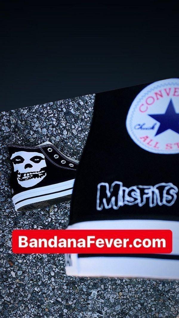 Misfits Custom Converse Shoes Black High Close at BandanaFever.com