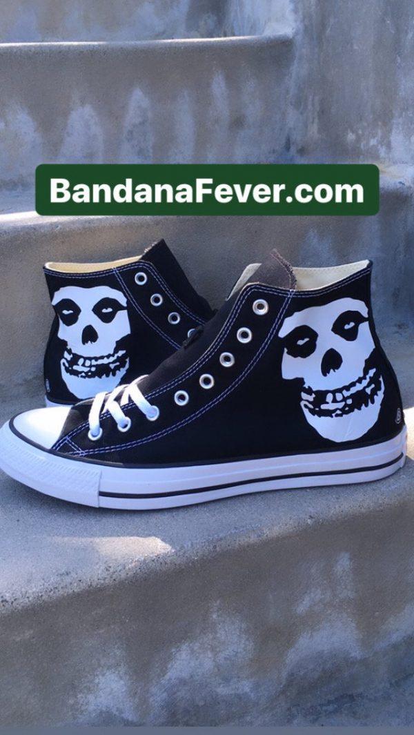 Misfits Custom Converse Shoes Black High Pair at BandanaFever.com