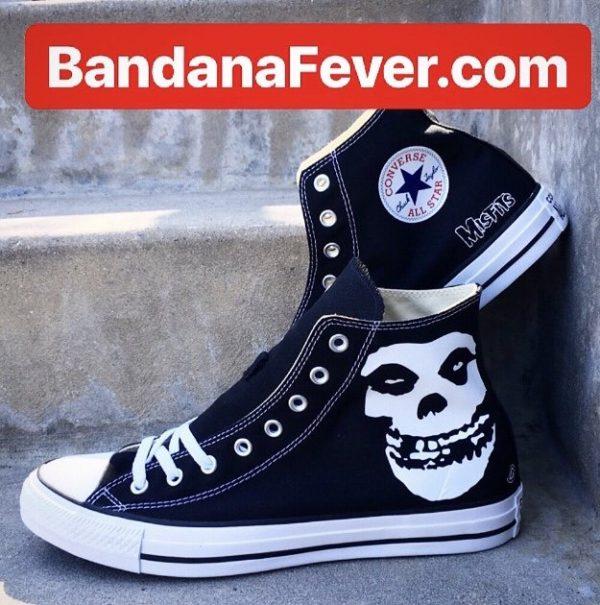 Misfits Custom Converse Shoes Black High Stacked at BandanaFever.com