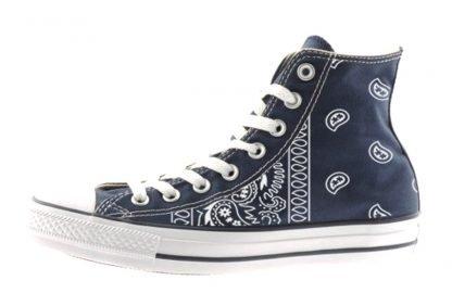 Navy Blue Bandana Teardrops Custom Converse Shoes Navy High by BandanaFever.com