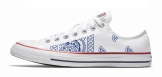 Navy Blue Bandana Teardrops Custom Converse Shoes White Low at BandanaFever.com