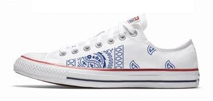 Navy Blue Bandana Teardrops Custom Converse Shoes White Low at BandanaFever.com