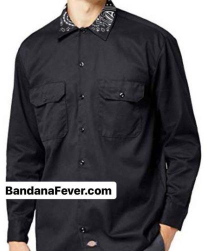 Bandana Fever Black Bandana Custom Dickies Shirt Collar LS Black at BandanaFever.com