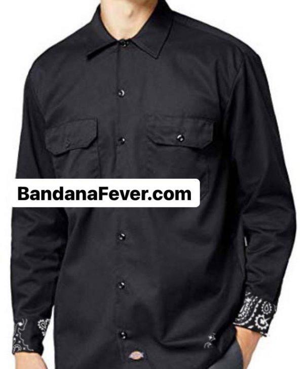 Bandana Fever Black Bandana Custom Dickies Shirt Cuffs LS Black at BandanaFever.com
