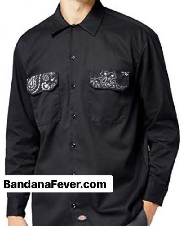 Bandana Fever Black Bandana Custom Dickies Shirt Pockets LS Black at BandanaFever.com