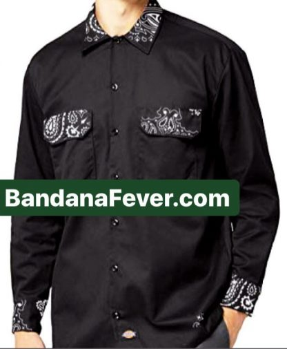 Bandana Fever Black Bandana Custom Dickies Shirt Whole LS Black at BandanaFever.com