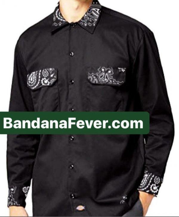 Bandana Fever Black Bandana Custom Dickies Shirt Whole LS Black at BandanaFever.com