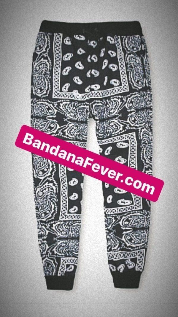 Bandana Fever Black Bandana Teardrops Custom Joggers Black at BandanaFever.com