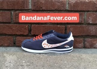 Bandana Fever Denver Broncos Orange Bandana Custom Nike Cortez Shoes NNW at BandanaFever.com