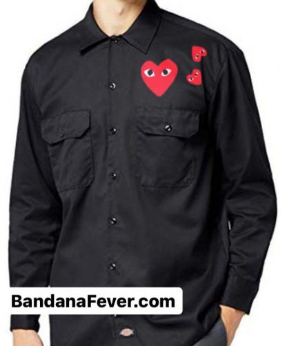 Bandana Fever CDG Play Custom Dickies Shirt LS Black at BandanaFever.com