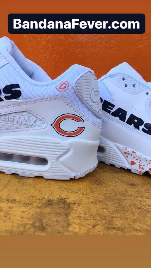 Chicago Bears Orange Splat Custom Nike Air Max Shoes White Close at BandanaFever.com