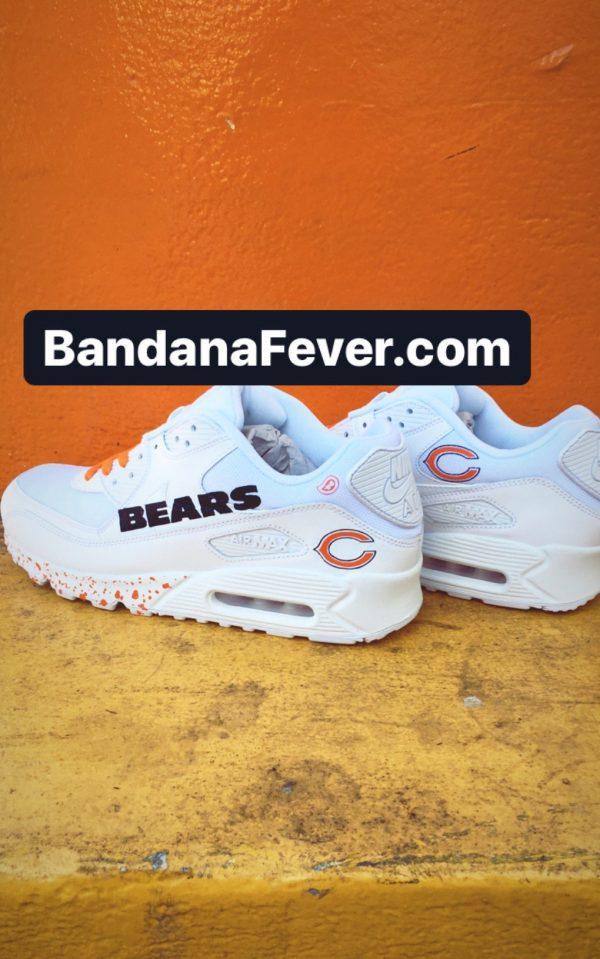 Chicago Bears Orange Splat Custom Nike Air Max Shoes White Pair at BandanaFever.com