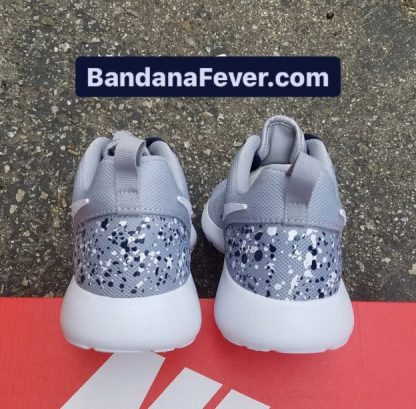 Big Dallas Cowboys White Blue Splat Custom Nike Roshe Shoes Grey Heels at BandanaFever.com