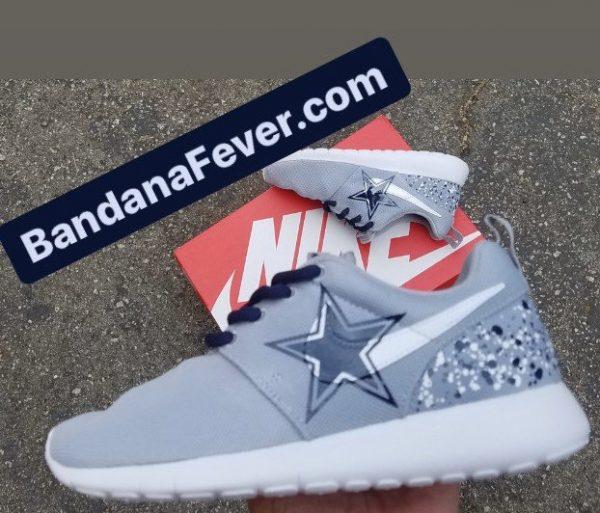Big Dallas Cowboys White Blue Splat Custom Nike Roshe Shoes Grey Close by BandanaFever.com