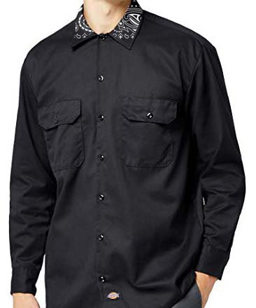 Black Bandana Custom Dickies Shirt Collar LS Black Collar by BandanaFever.com